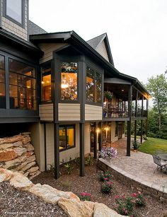 This hillside walkout design features a porch and patio for outdoor entertaining. Plan #875-D - The Rockledge. http://www.dongardner.com/plan_details.aspx?pid=2295. #OutdoorLiving #HillsideWalkout #Craftsman