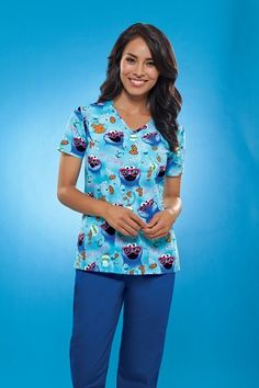 Tooniforms 6846 V-Neck Scrub Top in Nom Nom - Perfect for pijamas! That way no need to jump into the shower to go out!