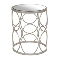 Silver Circles Mirrored Side Table | Kirklands