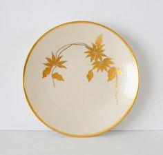 Antique Porcelain Plate. Poinsettia. Hand Painted. 22K Gold.1920's Art Deco