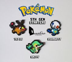 Pokemon Starters-5th Generation-Tepig Oshawott Snivy-Hama Beads 8 bit Pixel Art-Duastiro Artkal Fuse Perler Creations