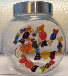 Designer Hand Painted Glass Sweets Pattern Cookie Jar by HandPaintedJar on Etsy