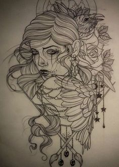 Girl tattoo design.