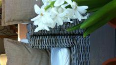 Flower chair.. Laundry Basket, Wicker, Throw Pillows, Organization, Chair, Natural, Flowers, Home Decor, Cushions