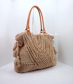Crochet Jute Boho Handbag with Tassels Woven di MyNicePurses