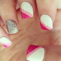 pink and glitter nails