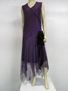 Royal Purple Silk Net Tea Dress with Velvet Bow, 1920's.
