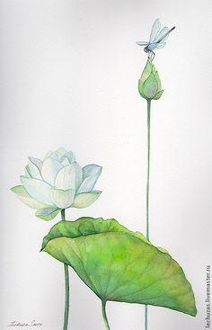Купить Акварель Взгляд свысока. Лотосы - лотос, лотосы, цветы акварелью, стрекоза, рисунок акварелью