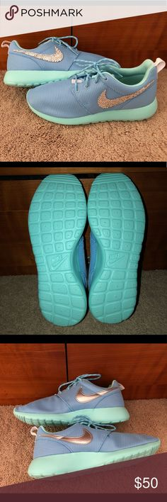 Brand New Custom Bedazzled Nike Roshe! ✨ NWOT. Brand new, never worn custom bedazzled Nike Roshe!! Outside Nike emblem is bedazzled, inside emblem is plain. Body of shoe is light blue. Inside shoe and soles are Tiffany blue. Absolutely no flaws at all! Super lightweight. Still has paper stuffing inside shoe. No box. Size is 6Y, equivalent to Women's 8. Nike Shoes Sneakers
