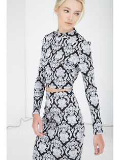 Black & White Baroque Funnel Neck Long Sleeve Crop Top