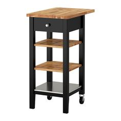 STENSTORP Kitchen cart IKEA Two adjustable shelves in solid oak with groves to keep bottles in place.