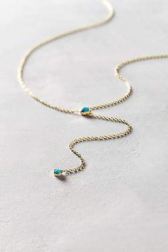 Turquoise Lariat Necklace in 14k Gold #AnthroFave