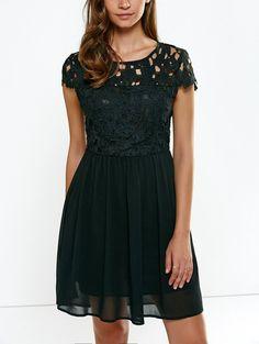 Open Back Lace Splicing Pleated Black Dress