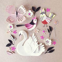 Birds!! #paperart #papercut #paperfolding ... Paper Crafts = Hanna Nyman Paper…