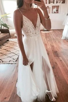 Elegant A Line V Neck Ivory Spaghetti Straps Lace Slit Wedding Gowns with Beads on sale – PromDress.me.uk Wedding Dress Trumpet, V Neck Wedding Dress, Perfect Wedding Dress, Mermaid Wedding, Wedding Dress Petite, Beach Style Wedding Dresses, Petite Bride, Beach Bridal Dresses, Outdoor Wedding Dress