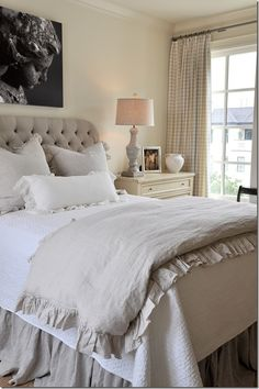 Tufted headboard with white bedding and ruffled blanket!  Love it!