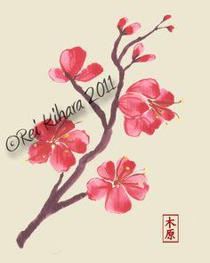 Japanese Cherry Blossom Branch 8 x 10 Print. $16.00, via Etsy.