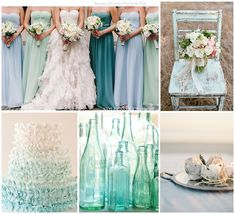 Seaside Wedding Inspiration | Beach Wedding | Blue and Green | Sea Glass | Wedding 101 Greenville Seaglass Colors, Seaglass Wedding Colors
