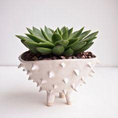 Große weiße Keramik stacheligen Kaktus Pflanzer von Kabinshop