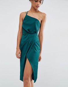Изображение 3 из Атласное платье-футляр миди на одно плечо ASOS
