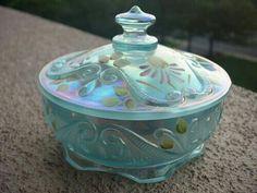 *FENTON ART GLASS ~ Carnival glass, Blue, Handpainted Candy Dish.
