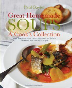 'Great Homemade Soups' by Paul Gayler. http://www.amazon.co.uk/Great-Homemade-Soups-Cooks-Collection/dp/1909342238/ref=sr_1_1?ie=UTF8&qid=1408723640&sr=8-1&keywords=great+homemade+soups