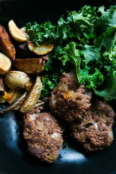 Shallot Rosemary Lamb Burgers with Couscous, Kale and Roasted Potatoes Lamb Burgers, Roasted Potatoes, Couscous, Recipe Using, Kale, Pork, Tasty, Beef, Dishes