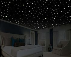 Romantic Bedroom Decor Star Wall Decal Glow in the Dark Stars Romantic Gifts Rom… Romantic Bedroom Decor Star Wall Decal Glow in the Dark Stars Romantic Gifts Romantic Wall Decal Ceiling Stars removable wall decor Dispositions Chambre, Romantic Bedroom Decor, Shabby Bedroom, Shabby Cottage, Shabby Chic, Romantic Room Decoration, Cozy Cottage, Glow Stars, Bedroom Ceiling
