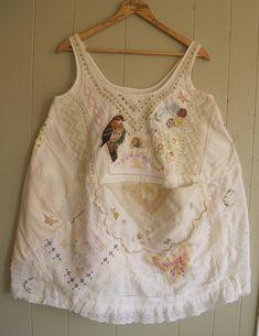 My Bonny vintage HANKY TUNIC - crochet, linens, embroidery, doilies, handkerchief - Collage Clothing - Wearable Folk Art