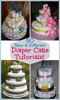 How to Make a Diaper Cake: 50 DIY Tutorials for Unique Diaper Cakes. If you want baby shower ideas a diaper cake makes a great centerpiece! Unique Diaper Cakes, Diy Diaper Cake, Nappy Cakes, Diy Cake, Girl Diaper Cakes, Diaper Cake For Girls, How To Make A Diaper Baby, Diaper Crafts, Diy Diapers