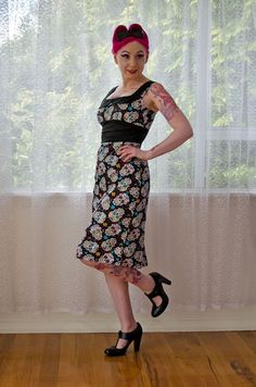 Rockabilly 'Leah' Sugar Skull Wiggle Dress with Peter Pan Collar, Pencil Skirt and Back Pleat - Custom made to fit