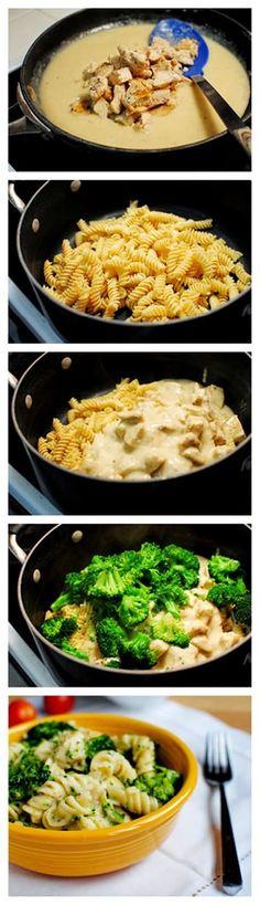 Skinny Chicken Broccoli Alfredo Recipe | Sauce is a greek yogurt/low-fat milk mixture | Make with whole wheat pasta