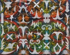 Philip Taaffe, Earth Star I, 2013 Mixed media on canvas 73 x 93 inches x cm) Luhring Augustine Gallery Leaf Art, Mixed Media Canvas, American Artists, Occult, Art Forms, Printmaking, Pattern Design, Artwork, Prints