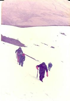 Traversing a snow slope in the Coniston area 1980s