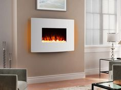 Elegant White Curved toughened glass fronted electric fire with amazingly life like flame effect,12 colour mood lighting and easy to use multi function LCD display remote control. The flame effect can be adjusted for intensity/brightness and can be used by itself or together with the mood lighting and the heat settings. | eBay!