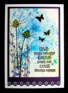 Background made with Brusho powder inks. Stamps by Lavinia Stamps and Indigo Blu. X-Cut border punch.