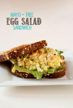 Egg Salad Sandwich-1-white I tweaked this recipe. 8 boiled eggs, 3 T plain Greek yogurt, 2-3 tsp mustard, add to taste: chopped celery, dill pickles, salt and pepper.