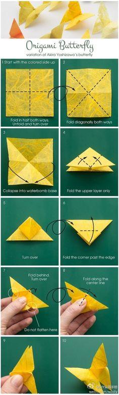 Origami pillangó lépésről lépésre
