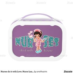 Nurses do it with Love. Happy Nurses Week / Happy Nurses Day / Thank You Nurse / Nurse's Birthday / Graduation from Nursing School / Any occasion Gift Lunch Box for Nurses. Matching Cards in various languages , postage stamps and other products available in the Business Related Holidays / Healthcare Category of the artofmairin store at zazzle.com