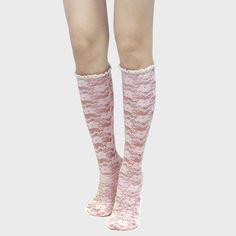 Ruffle Trim Sheer Lace Roses Knee High Boot Socks - Pink