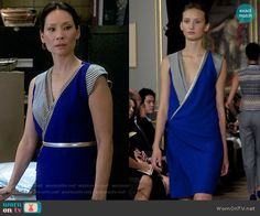 Joan's blue wrap dress with striped panels on Elementary. Outfit Details: http://wornontv.net/55045/ #Elementary