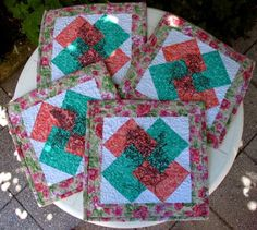 Advanced Embroidery Designs. Free Projects and Ideas  Placemats Quilted with Flower Redwork