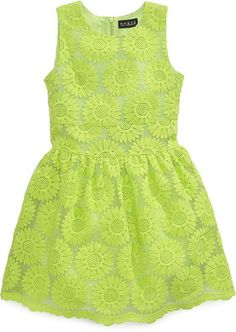 | This GUESS Girls' Schiffli Lace Dress is a chic garden dress in an allover floral embroidered lace |
