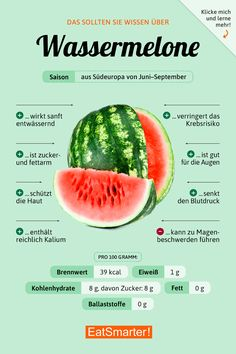 watermelon-Wassermelone Watermelon: Recipes and Knowledge EAT SMARTER - Watermelon Recipes, Watermelon Nutrition, Food Facts, Eat Smarter, Health Facts, Eating Plans, Health And Nutrition, Nutrition Guide, Complete Nutrition