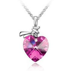 Blue Chip Unlimited - Pink Rose Crystal Twisted Heart Pendant with White RGP Chain Elegant Gem Fashion Jewelry Necklace Girls Necklaces, Fashion Jewelry Necklaces, Heart Necklaces, Jewlery, Swarovski Crystal Necklace, Crystal Pendant, Crystal Diamond, Vintage Heart, Champagne Diamond