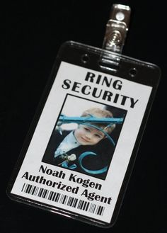 Jayden will think this is so cool!! Ring Security Badge Ring Bearer Ring Security by Grammy2Noah, $12.00