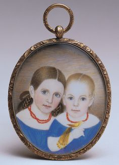 Antique American Portrait - Love the blue dresses and red bead necklaces