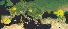 Alans - The name Alan is an Iranian dialectical form of Aryan, a common self-designation of the Indo-Iranians. The migrations of the Alans during the 4th–5th centuries AD, from their homeland in the North Caucasus. Major settlement areas are shown in yellow, Alan civilian emigration in red, and military campaigns in orange.