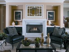 Lower built-ins next to fireplace. Use of nook. Big fireplace surround