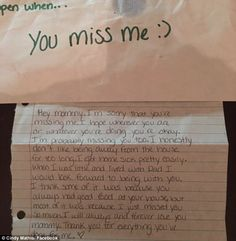 """""""Open when you miss me"""": Late daughter leaves behind letters to mom Mom discovers letter from her daughter a month after the teen tragically died in a crash. Creative Gifts For Boyfriend, Cute Boyfriend Gifts, Boyfriend Anniversary Gifts, Gifts For Your Boyfriend, Birthday Gifts For Boyfriend, Boyfriend Crafts, Diy Best Friend Gifts, Birthday Gifts For Best Friend, Bf Gifts"""